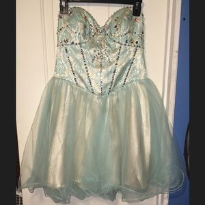 Teal strapless party dress